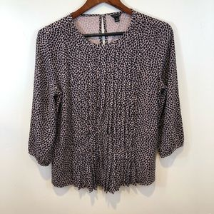 Ann Taylor Pleated Front 3/4 Sleeve Blouse